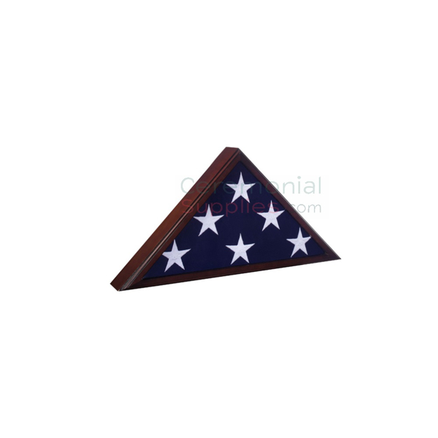 Triangle cherry wood display case with flag inside