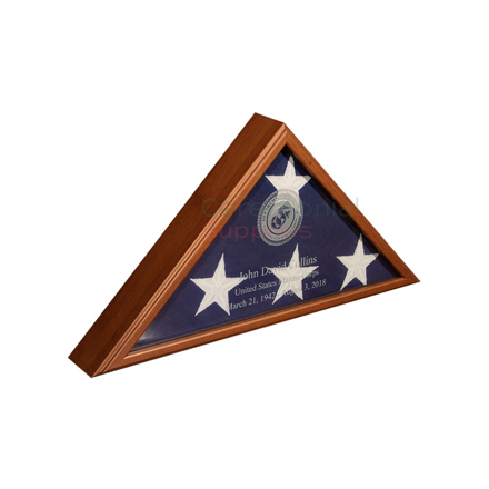 triangle flag display case with flag inside and personal engraving