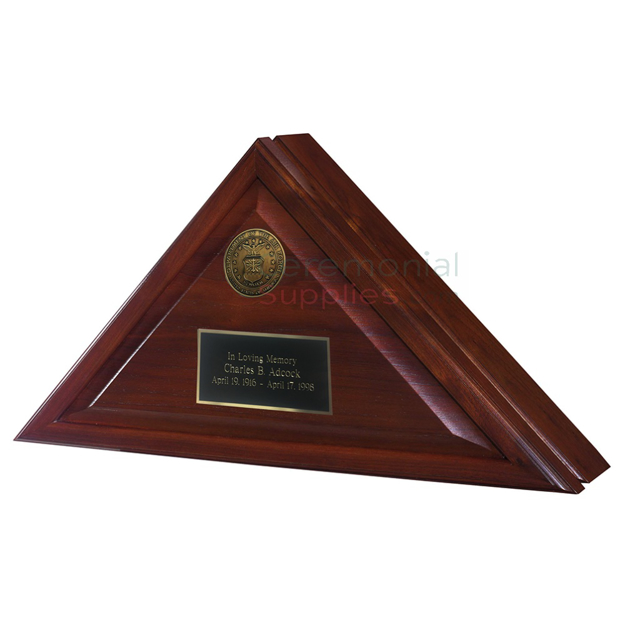 Closed triangle display with brass plate and choice of military seal