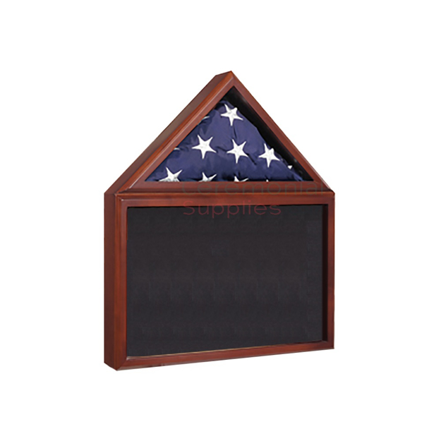 Triangle flag display and rectangle award display case