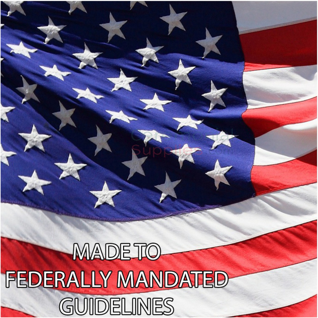 """Picture of American Flag with """"Made to Federally Mandated Regulations"""" caption"""