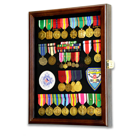 Vertical military medal display filled with medals