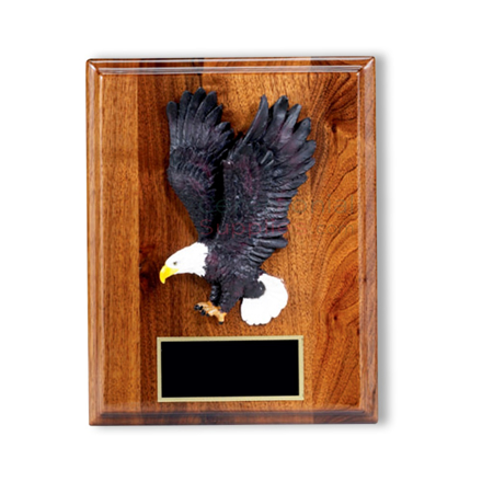 Wood plaque with bald eagle and brass plate for engraving