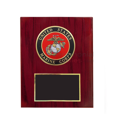 Cherry finish vertical plaque with Marine Corps seal and black area for personal engraving