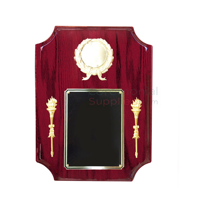 Vertical plaque with dipped in borders, with space for military insert, black area for engraving and two torches on both sides