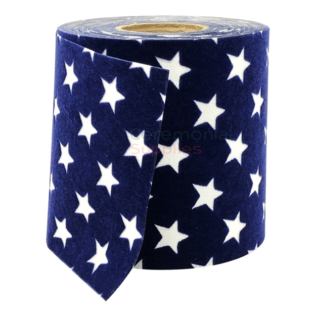 Pictured blue velvet ribbon with white poly-prop stars