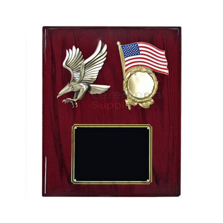 Cherry wood plaque with bald eagle and American flag emblem insert