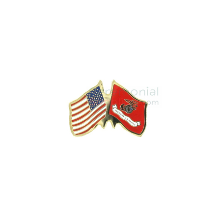 American flag and Marine Corps flag lapel pin