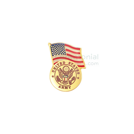 American flag and Army insignia lapel pin