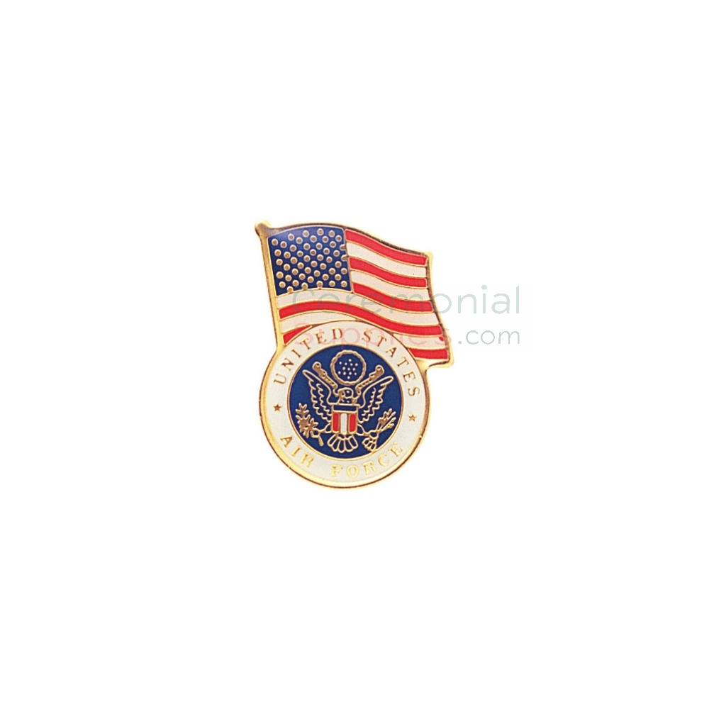American flag and Air Force insignia lapel pin
