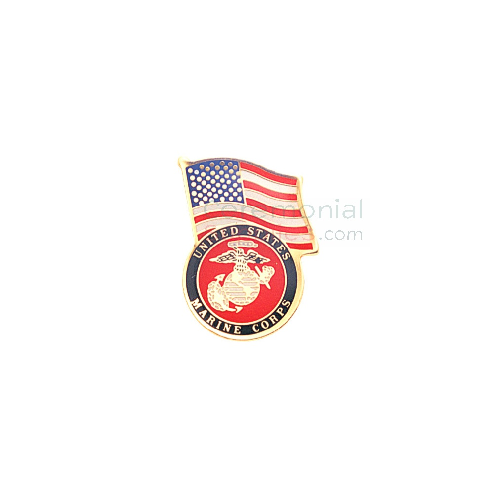 American flag and Marine Corps insignia lapel pin