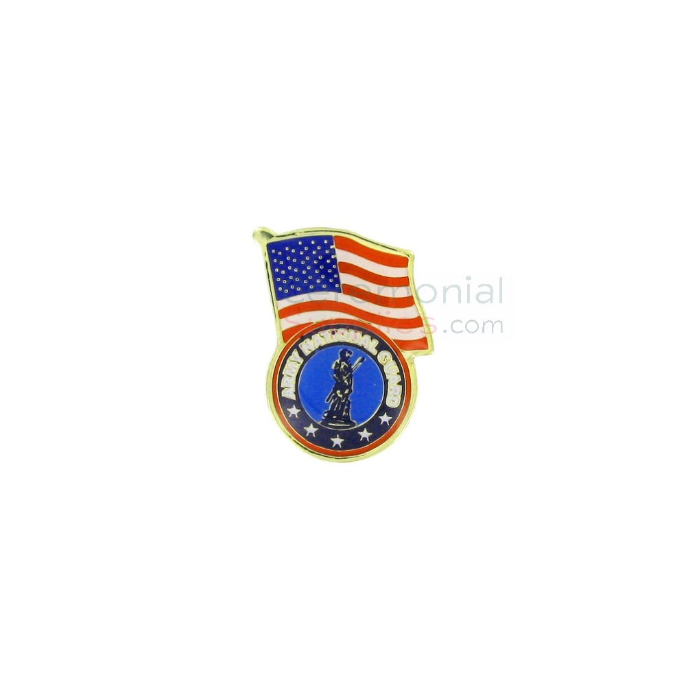 American flag and National Guard insignia lapel pin