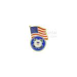 American flag and Coast Guard insignia lapel pin