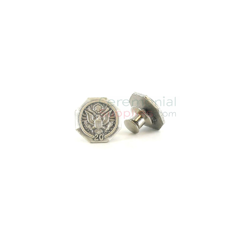 Silver lapel pin with '20' text and American seal