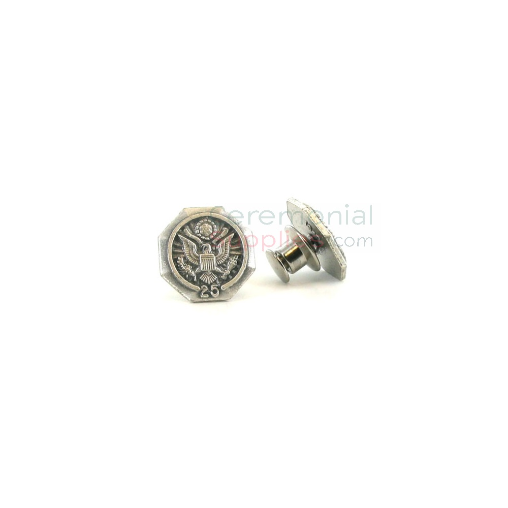Silver lapel pin with '25' text and American seal
