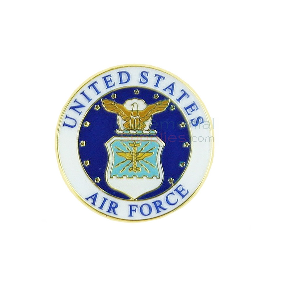 A round lapel pin with the Air Force insignia