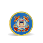 A round lapel pin with the Coast Guard insignia