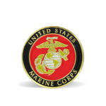 A round lapel pin with the Marine Corps insignia