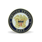 A round lapel pin with the Navy insignia