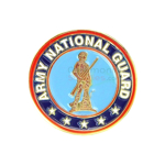 A round lapel pin with the National Guard insignia