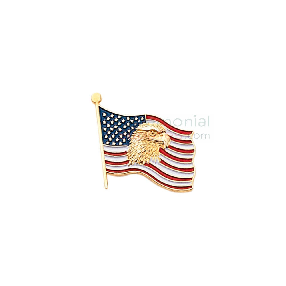 American flag with American Eagle lapel pin