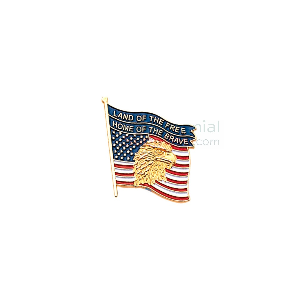 American flag with American Eagle with 'Land of the free, home of the brave' text lapel pin