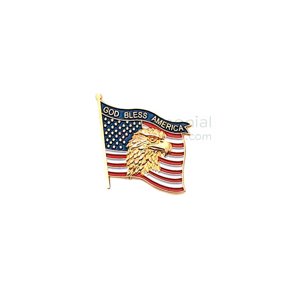 American flag with American Eagle with 'God Bless America' text lapel pin