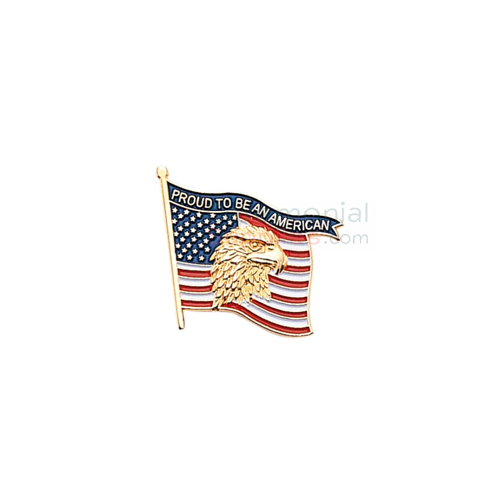 American flag with American Eagle with 'Proud to be an American' text lapel pin