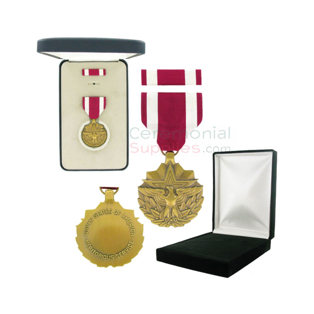 Image of Meritorious Service medal with black velour and Govt. Official boxes