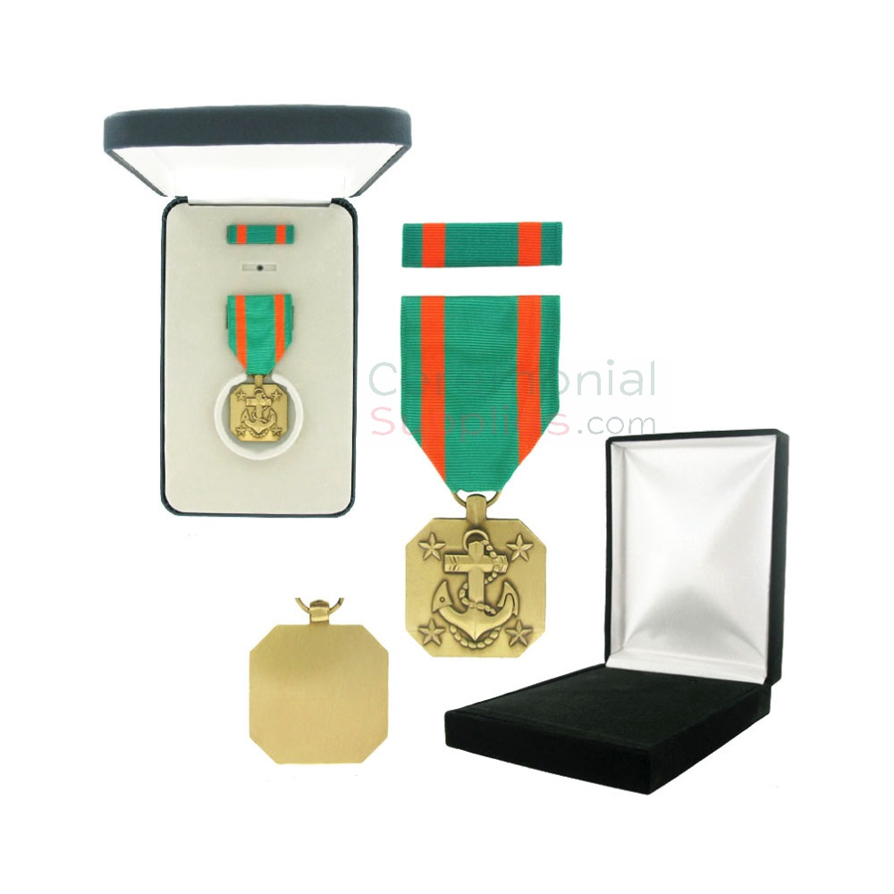 Image of Navy and Marine Corps Achievement medal with black velour and Govt. Official boxes