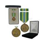 Pictured 1-3/8 Inch Armed Forces Service Military Medal with Black Velour and Official Govt. Boxes