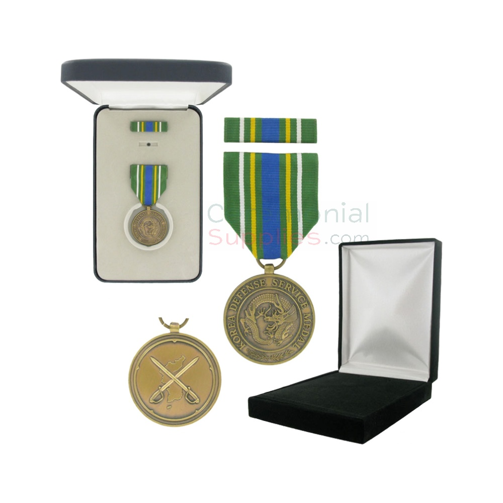 1-3/8 Inch Korean Defense Service Military Medal with Black Velour and Official Govt. Boxes