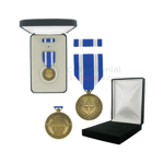 Pictured  1-3/8 Inch NATO Non-Article 5 Medal for Afghanistan with Black Velour and Official Govt. Boxes