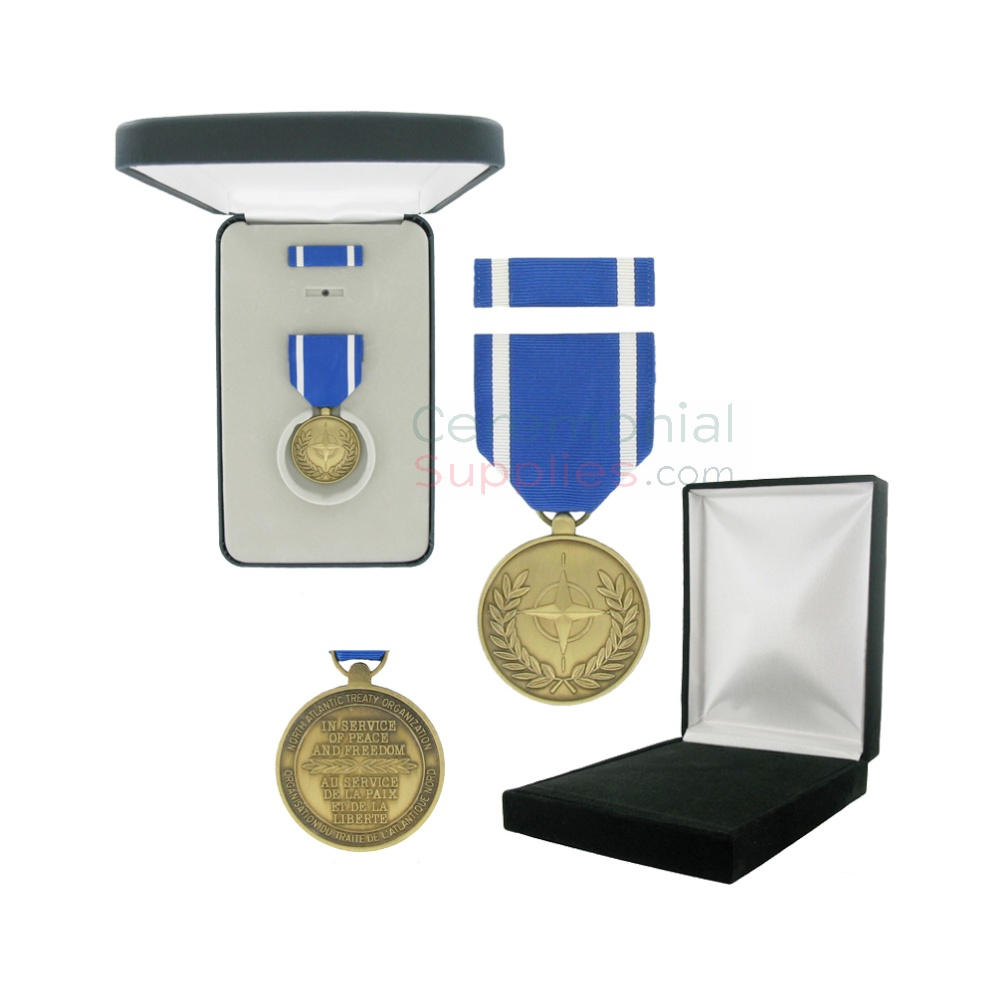 Pictured  1-3/8 Inch NATO Military Medal with Black Velour and Official Govt. Boxes