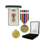 Pictured  1-3/8 Inch Global War On Terrorism Service Military Medal with Black Velour and Official Govt. Boxes