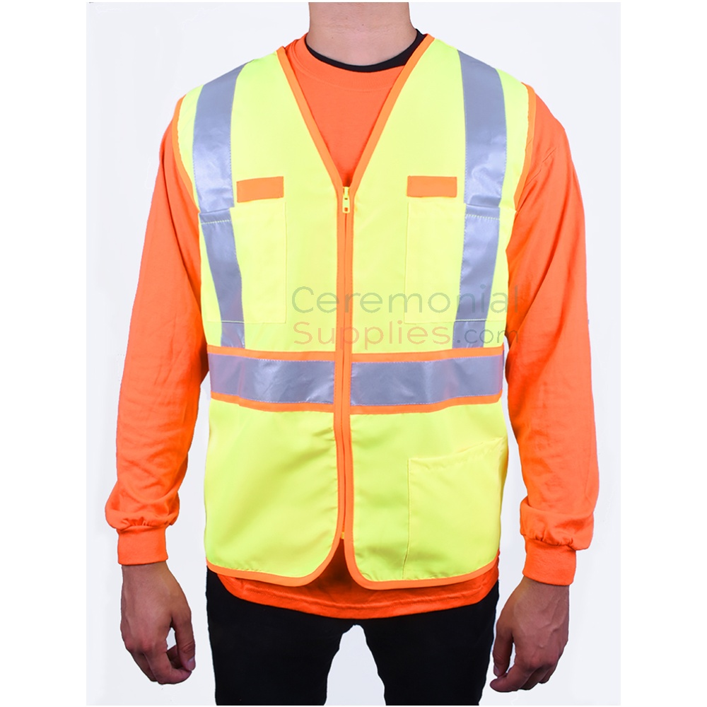Man wearing Dual-color Safety Vest