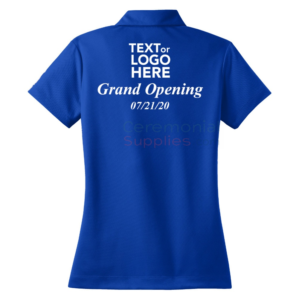 A back view of a Ceremonial Personalized Ladies Nike Polo Shirt