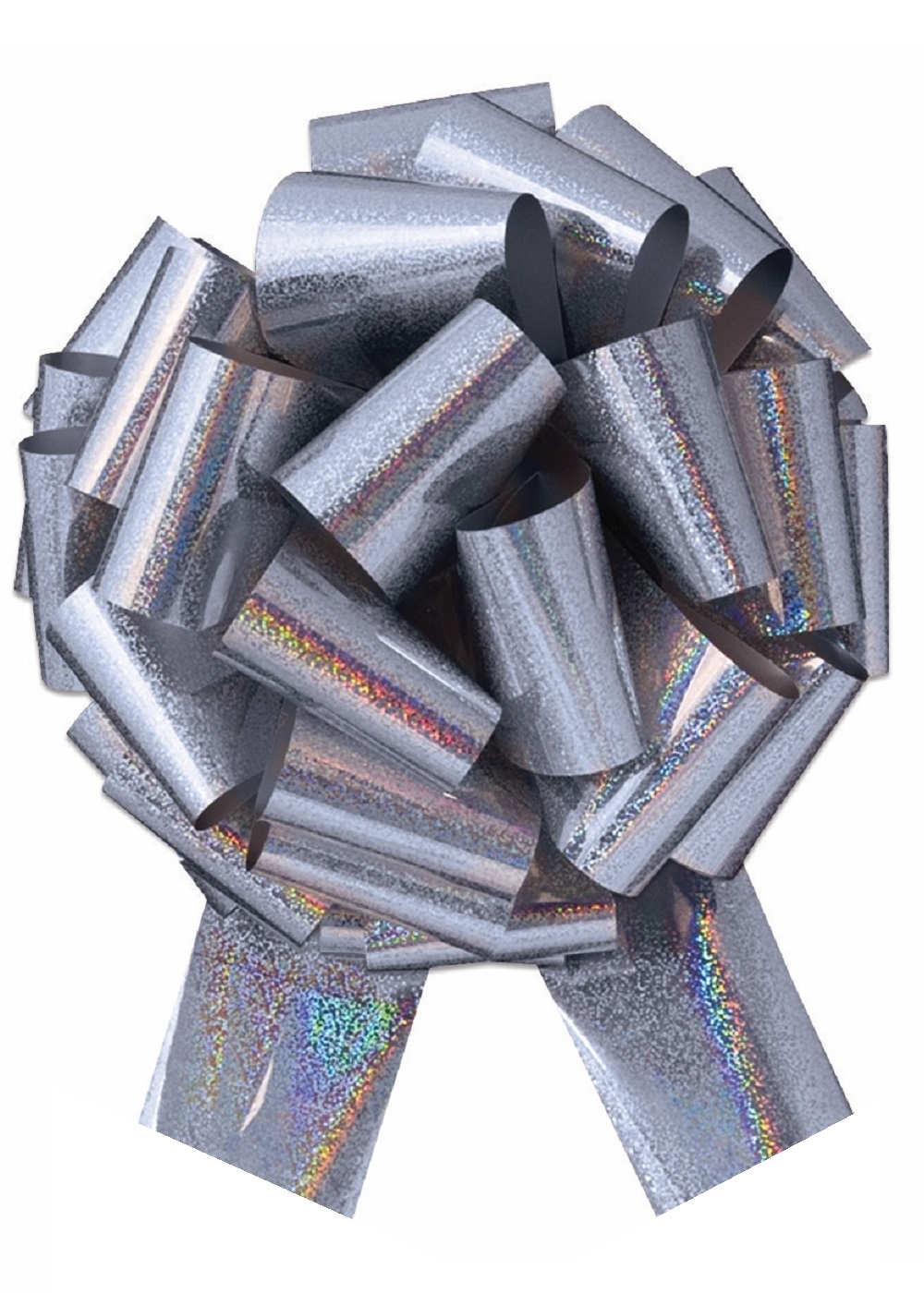 "Photo of 14"" Holographic Silver Pull Bow"