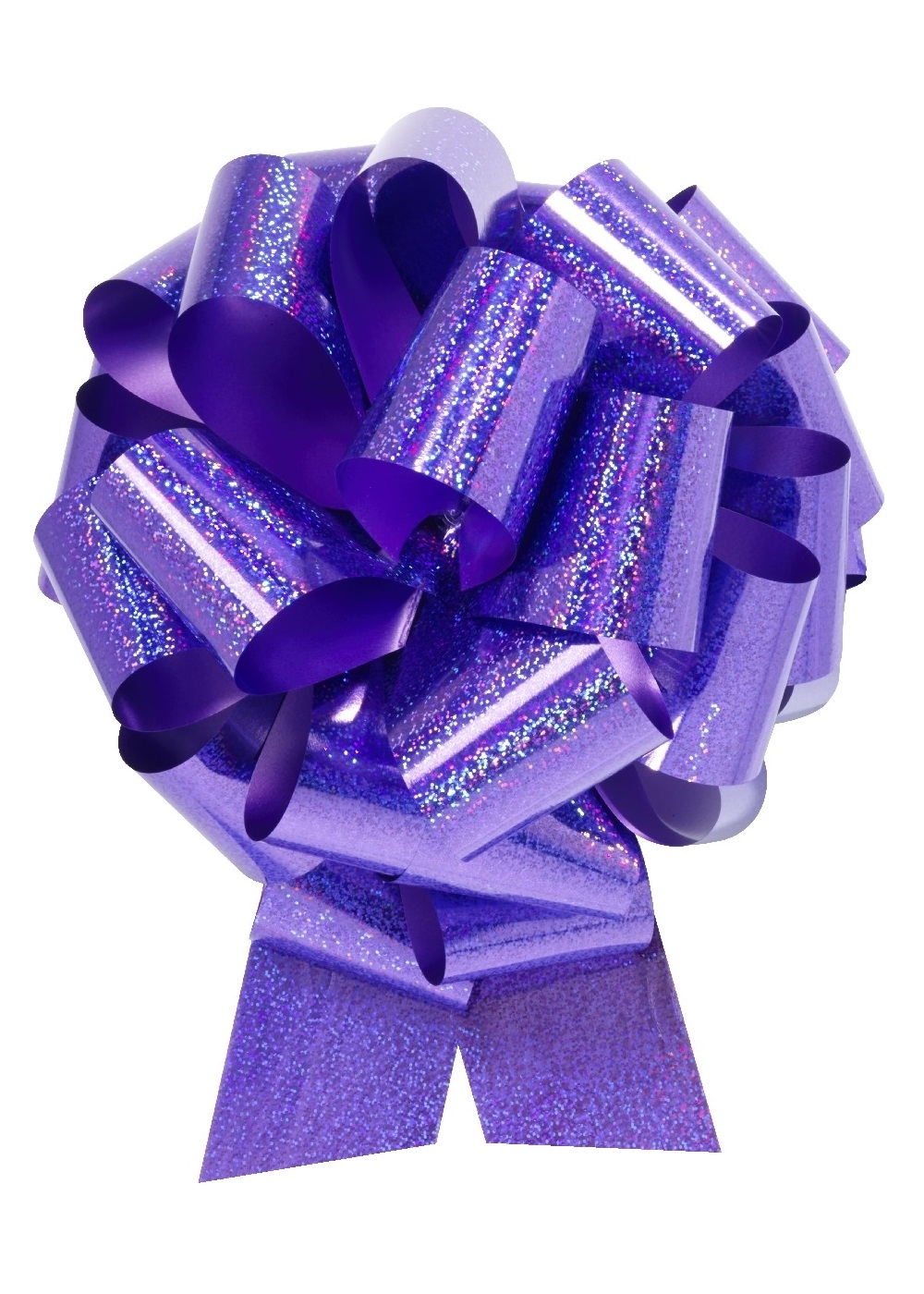 "Photo of 14"" Holographic Purple Pull Bow"