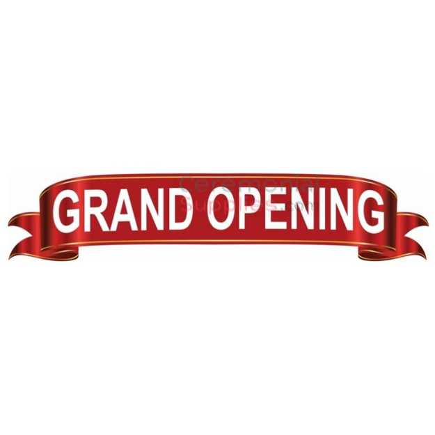 Graphic design of the deluxe grand opening banner.
