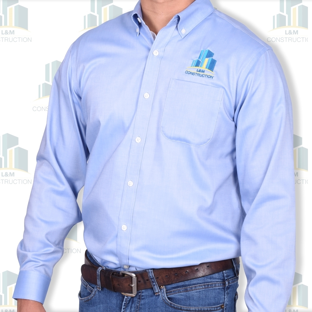Man wearing Oxford long sleeve shirt