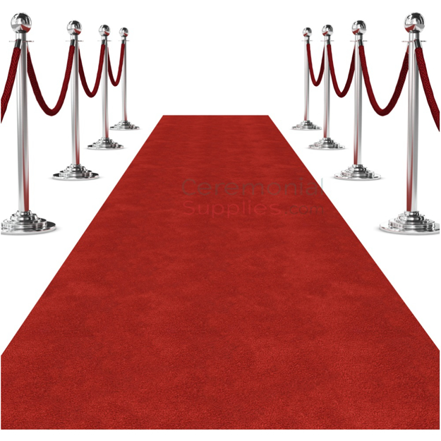 View of Standard Ceremonial Red Carpet with Stanchions Displayed