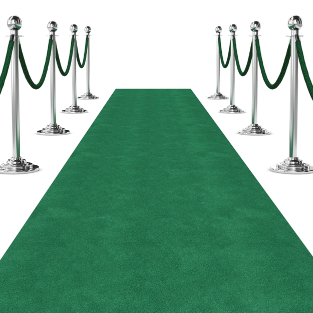 Standard Green Ceremonial Carpet Runner shown with Stanchions