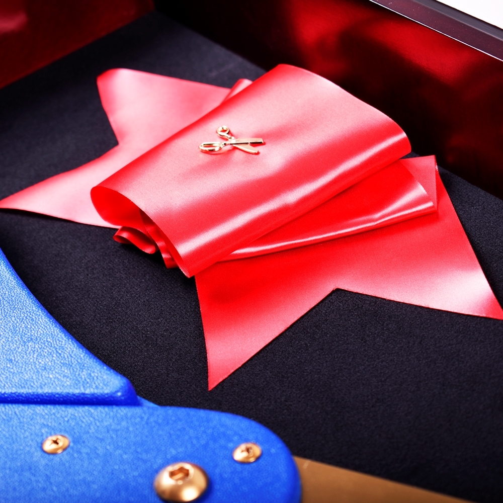 Close up of lapel pin with ribbon in the 30 inch scissor display case