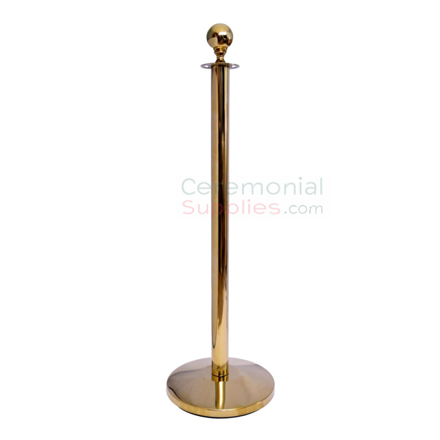 Picture of the Brass Stanchion Queue Posts with Round Top.