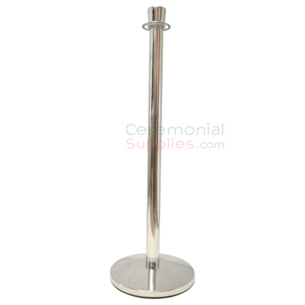 Photo of the Luxury Chromed Steel Stanchion Queue Poles with Urn Shaped Top.