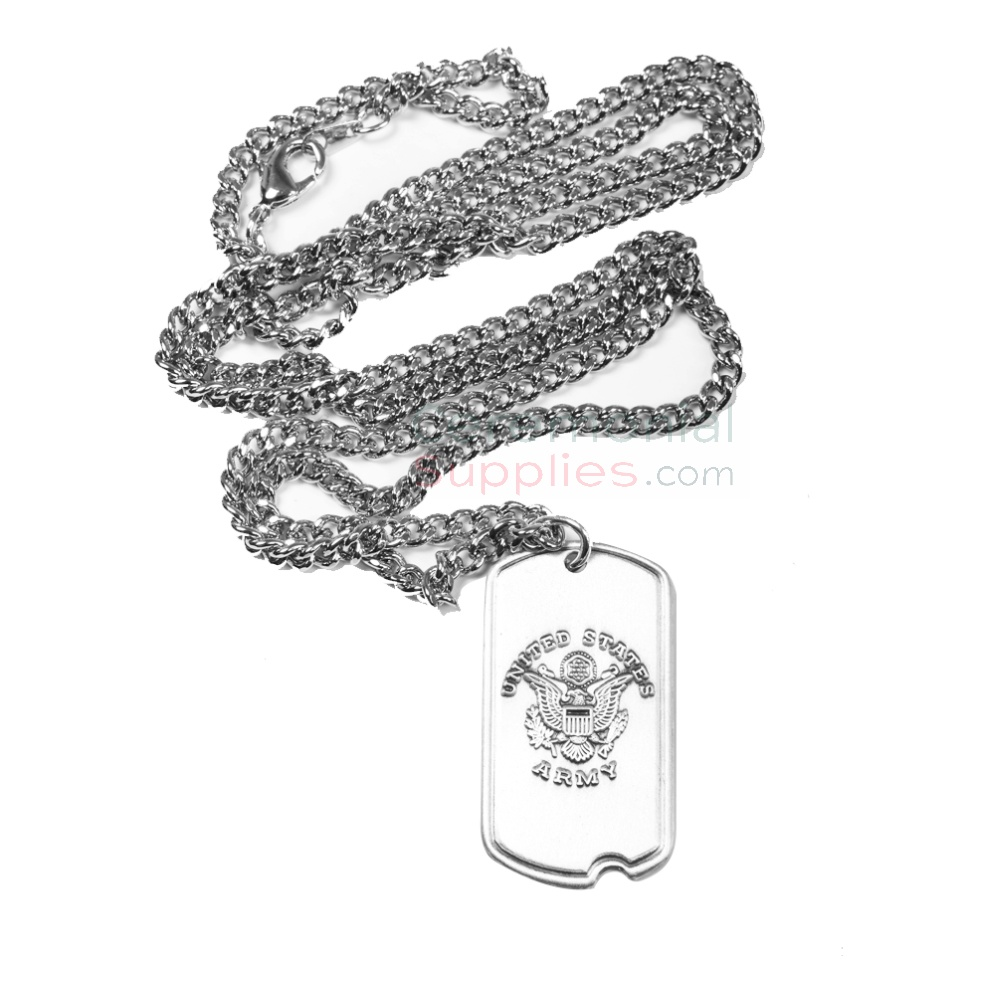 US Army dog tag with 24 inch chain