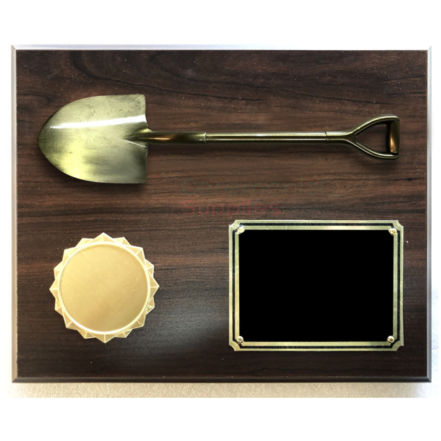 Front image of the Groundbreaking Shovel Plaque.