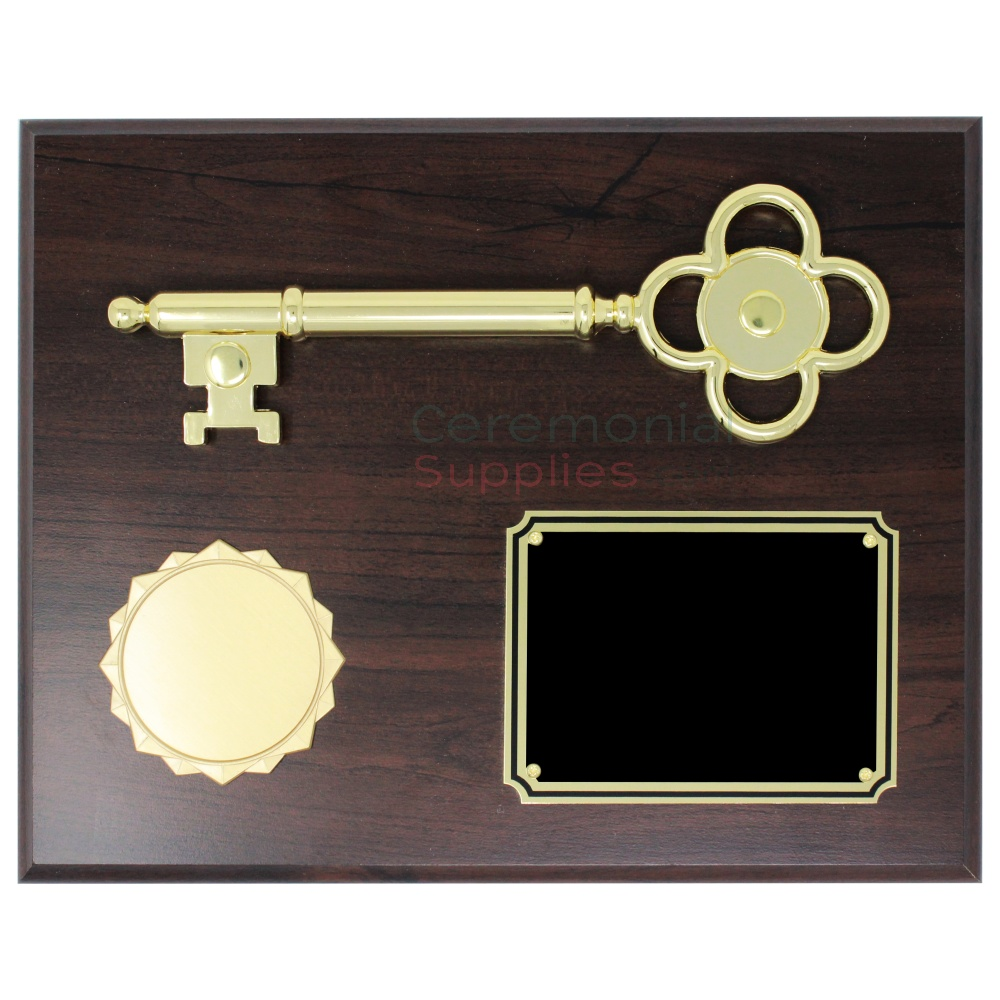 key to the city plaque with seal and gold text box