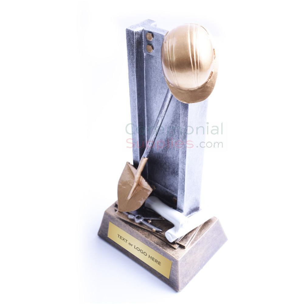 Diagonal View of Groundbreaking Keepsake showing Shovel Hard Hat and Customizable Plate